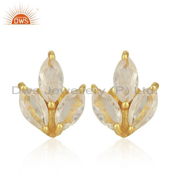 Crystal Quartz 925 Sterling Silver Gold Plated Stud Earrings Wholesale Suppliers