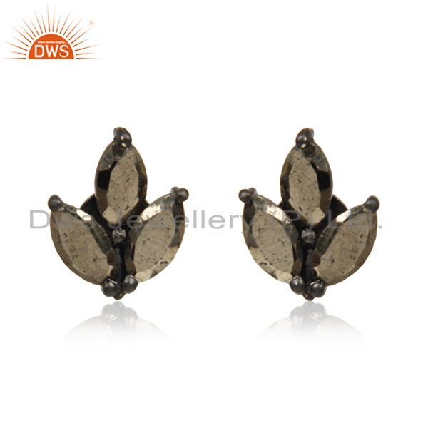 Black Rhodium Plated Sterling Silver Pyrite Gemstone Stud Earrings Wholesale