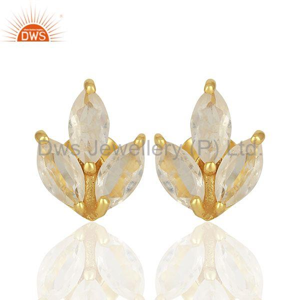 Handmade Gold Plated 925 Silver Rainbow Moonstone Stud Earring Jewelry