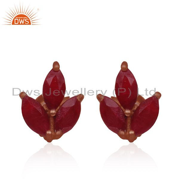 Prong Set Ruby Corundum Gemstone Rose Gold Plated 925 Silver Stud Earrings