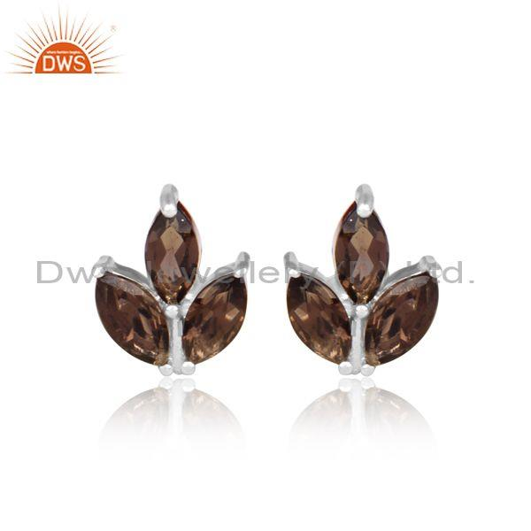 Smoky Set Fine 925 Sterling Silver Floral Statement Earrings