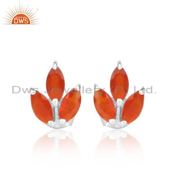 Red Onyx Set Fine 925 Sterling Silver Fancy Floral Earrings
