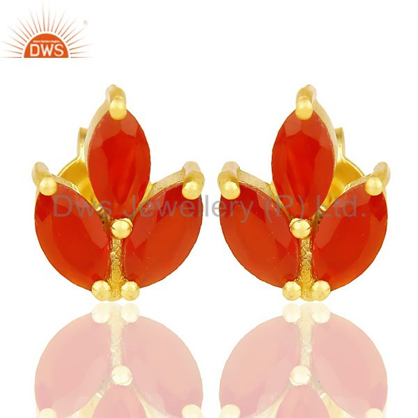 Red Onyx Stud 18K Yellow Gold Plated 925 Sterling Silver Earrings Jewelry