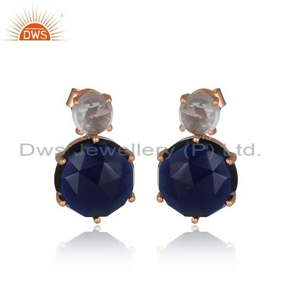Blue Topaz & Corundum Rose Gold On 925 Silver Stud Earring