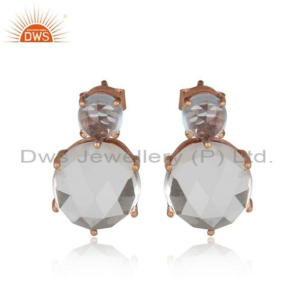 Blue Topaz & Crystal Quartz Rose Gold On Silver Stud Earring