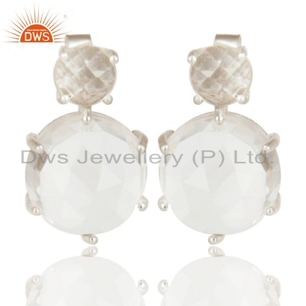 Crystal Quartz Stud Sterling Silver Prong Set Earrings Gemstone Jewelry