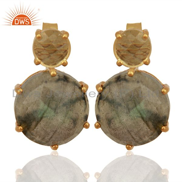 Labradorite Crystal Quartz Studs 18K Gold Plated 925 Sterling Silver Earrings