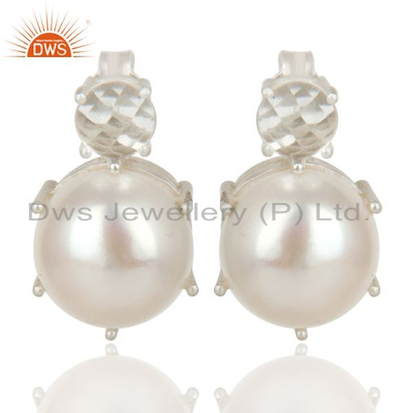 Handmade Solid 925 Sterling Silver Crystal Quartz & Pearl Beads Studs Earrings