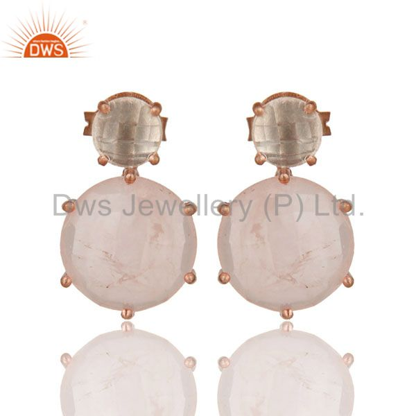18K Rose Gold Plated Sterling Silver Crystal Quartz And Rose Quartz Stud Earring