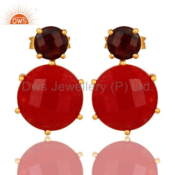 18K Gold Plated Sterling Silver Prong Set Garnet And Red Aventurine Stud Earring