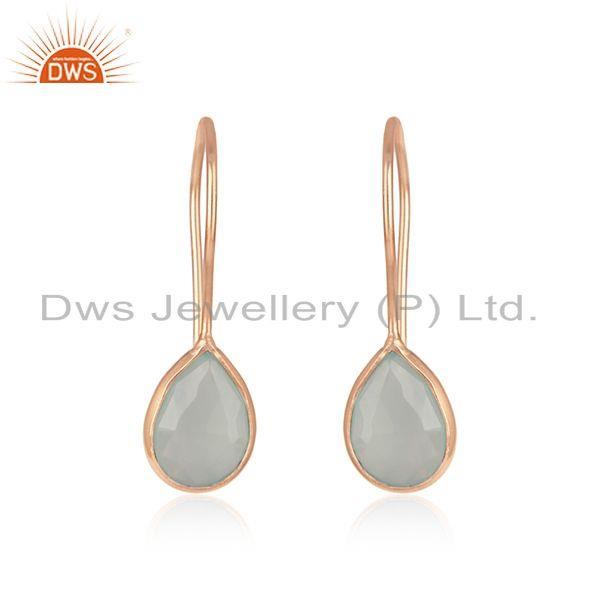 Handmade 925 Silver Rose Gold Plated Chalcedony Gemstone Baby Girls Earrings