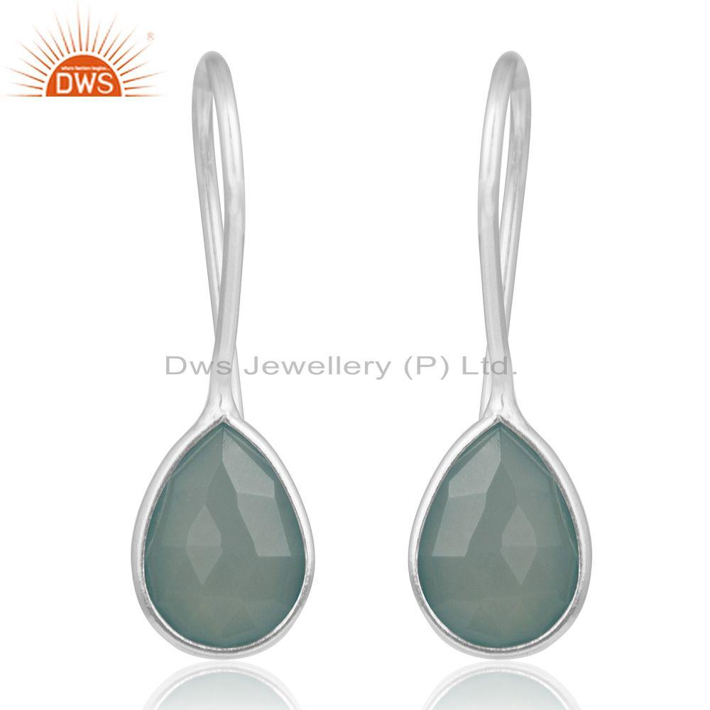 Aqua Chalcedony Gemstone 925 Sterling Silver Dangle Earrings Manufacturers India