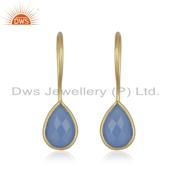 Blue Chalcedony 7x10 Pear Bezel Set Drop Gold Plated 92.5 Sterling Silver Earrin
