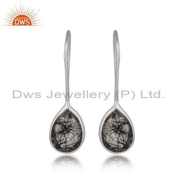 925 Sterling Silver Black Rutile Gemstone Hook Drop Earring