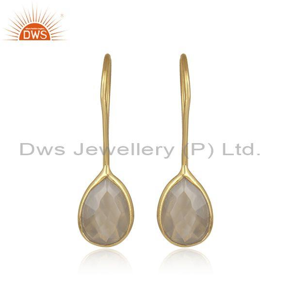 Gray Chalcedony Dangle 18K Yellow Gold Plated Sterling Silver Earrings Jewelry