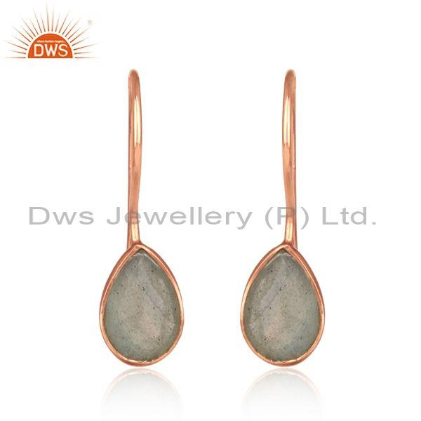 Bezel Set Labradorite Rose Gold on Silver 925 Drop Earring