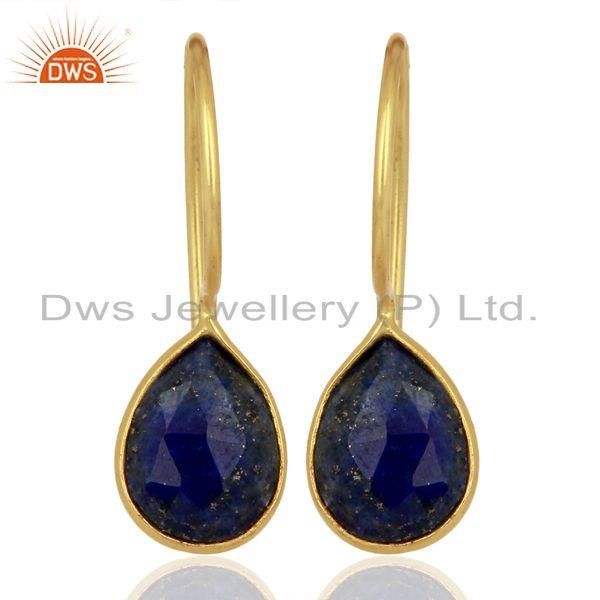 Lapis Lazuli Dangle 14K Yellow Gold Plated 925 Sterling Silver Earrings