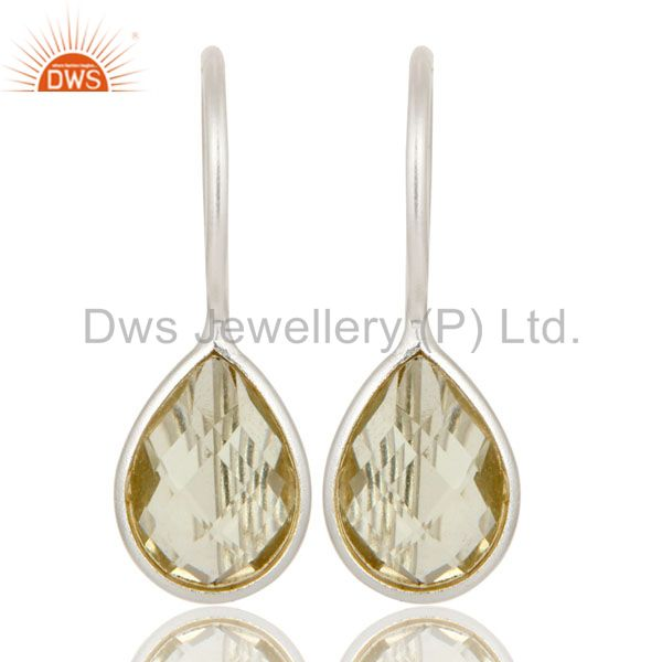 925 Sterling Silver Lemon Topaz Gemstone Bezel Set Earrings