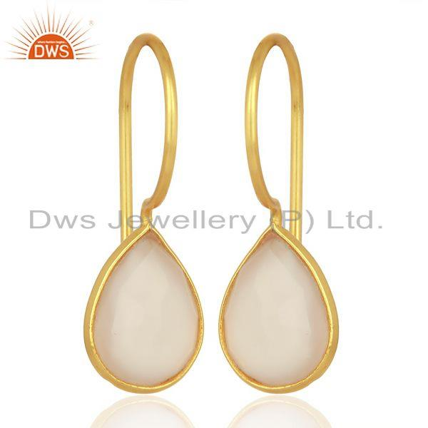 Rose Chalcedony Pear Bezel Set Drop Gold Plated 92.5 Sterling Silver Earring