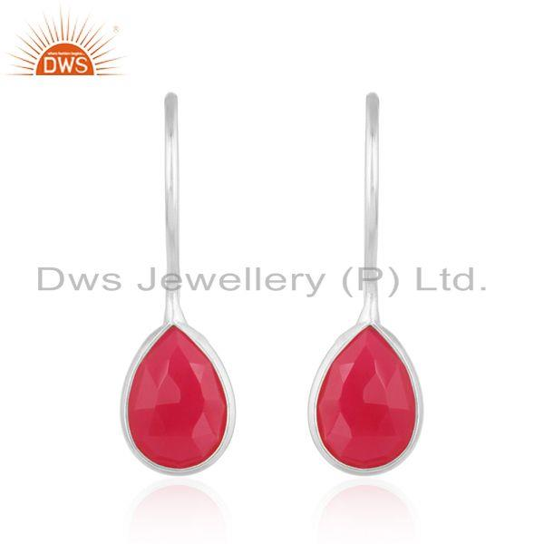 Bezel set sterling silver 925 drop earring with pink chalcedony