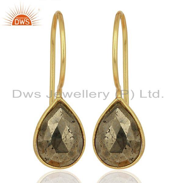 Pyrite Drop 14K Yellow Gold Plated 925 Sterling Silver Earrings Jewelry