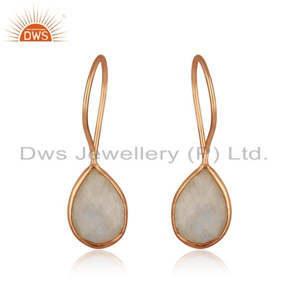 Rose Gold Plated Sterling Silver Rainbow Moonstone Tiny Earrings