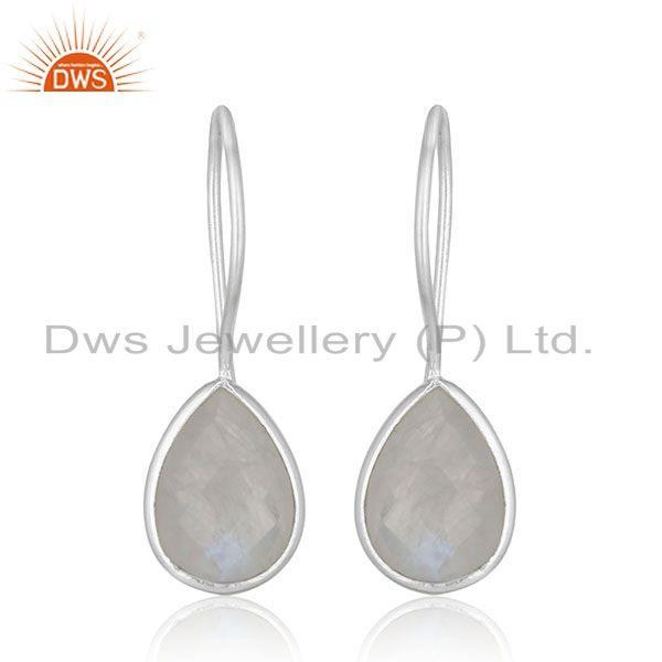 Rainbow Moonstone Silver Drop Earrings Custom Design Manufacturer Jaipur