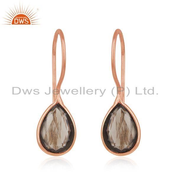 Handmade Rose Gold Plated 925 Silver Smoky Quartz Stone Earrings for Girls