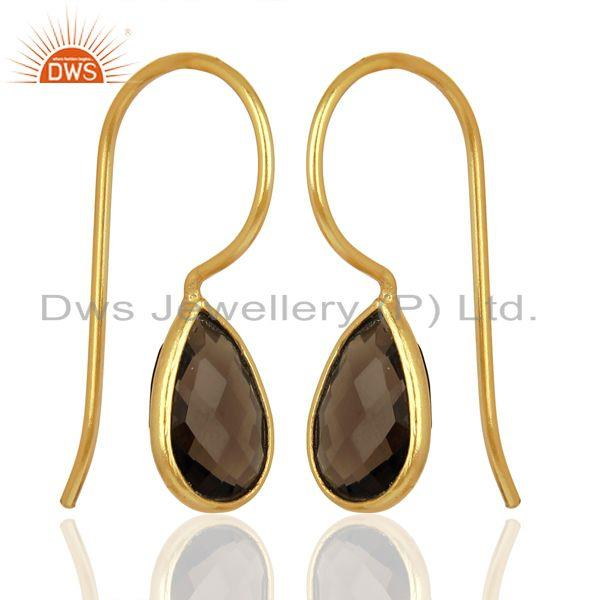 Smoky Quartz Dangle 14K Yellow Gold Plated 925 Sterling Silver Earrings Jewelry