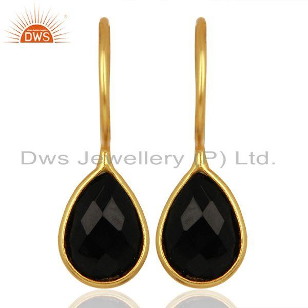 Black Onyx Dangle 14K Gold Plated 925 Sterling Silver Earrings Gemstone Jewelry