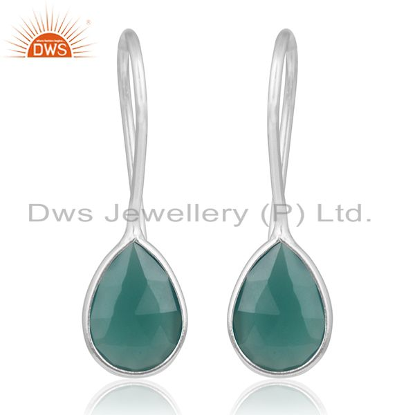 Fine 925 Sterling Silver Green Onyx Gemstone Dangle Earring Manufacturer India