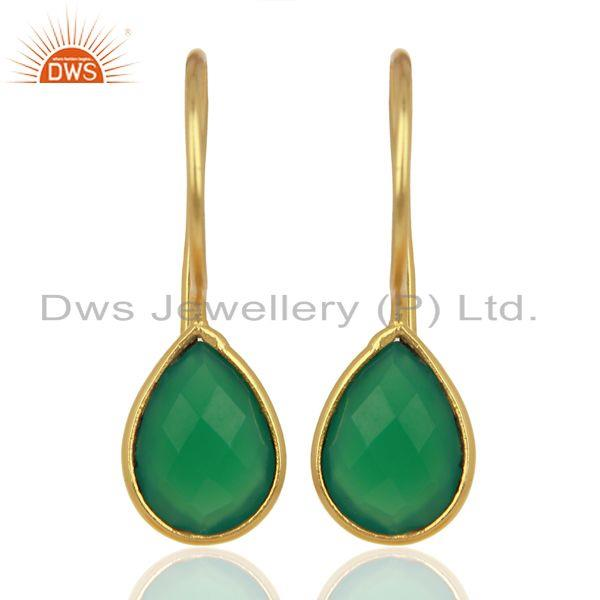 Green Onyx Drop 14K Yellow Gold Plated 925 Sterling Silver Earrings Jewelry