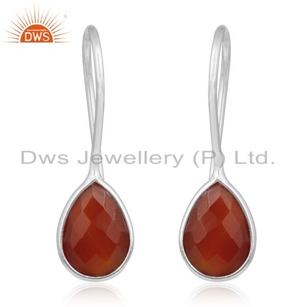Red Onyx Gemstone 925 Sterling Silver Handmade Earring Manufacturer of Jewellery