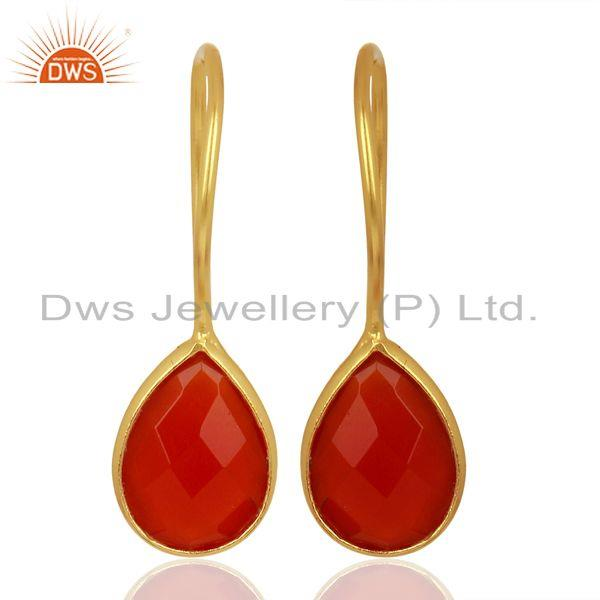 Red Onyx Drop 14K Yellow Gold Plated 925 Sterling Silver Earrings Jewelry