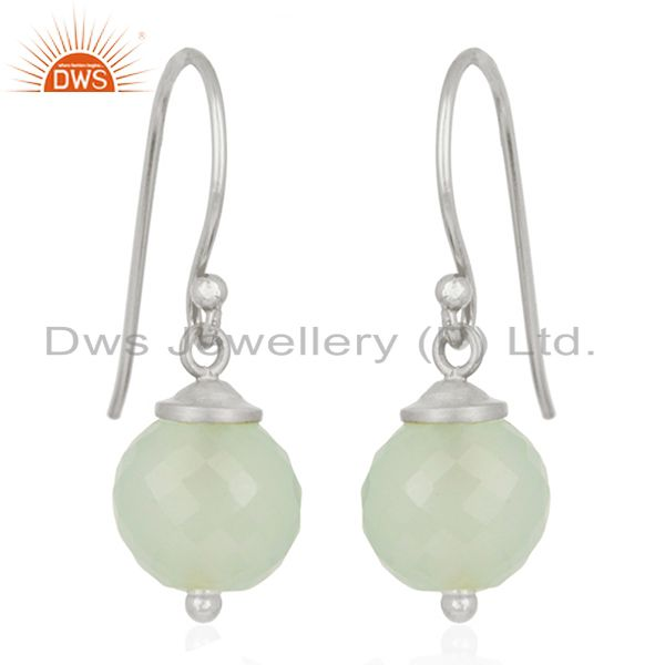 Aqua Chalcedony Gemstone 925 Sterling Fine Silver Drop Earrings Wholesale