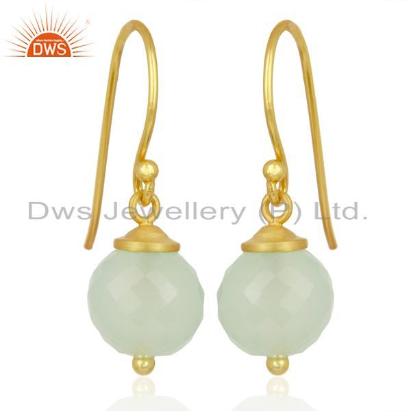 Handmade Aqua Chalcedony Gemstone Gold Plated Silver Earrings Supplier