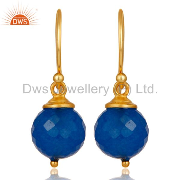 18K Gold Plated 925 Sterling Silver Dyed Blue Chalcedony Drops Earrings Jewelery