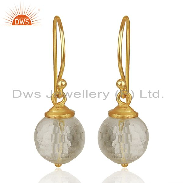 Crystal Quartz Round Ball Gold Plated 925 Silver Earrings Jewelry