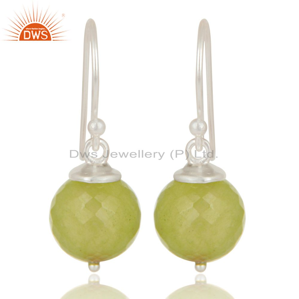 Handmade Solid 925 Sterling Silver Prehnite Chalcedony Hook Earrings For Womens
