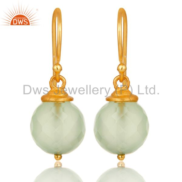 18K Gold Plated Sterling Silver Prehnite Chalcedony Hook Earrings For Womens