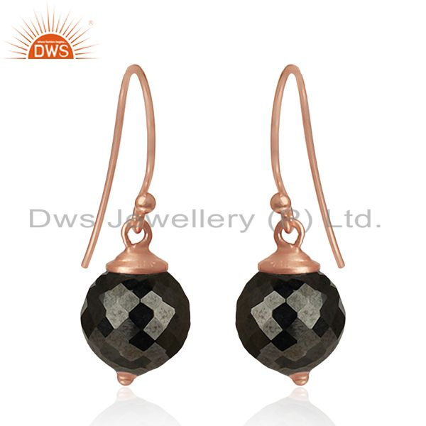 Hematite Gemstone Rose Gold Plated 925 Silver Drop Earrings Manufacturer India