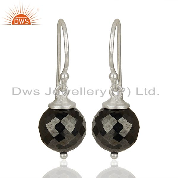 Round Hematite Gemstone 925 Silver Drop Girls Earrings Jewelry