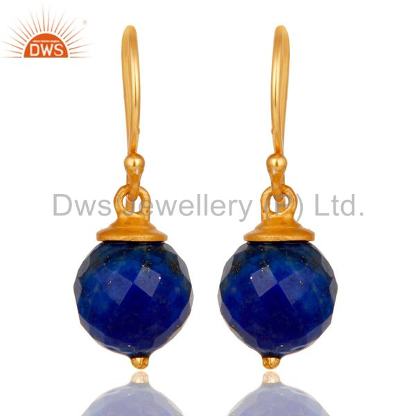 18K Yellow Gold Plated Sterling Silver Lapis Dangle Hook Earrings For Womens