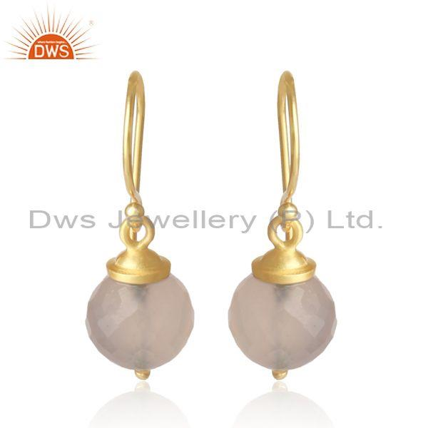 Rose Chalcedony Set Gold On 925 Silver Casual Drop Earrings