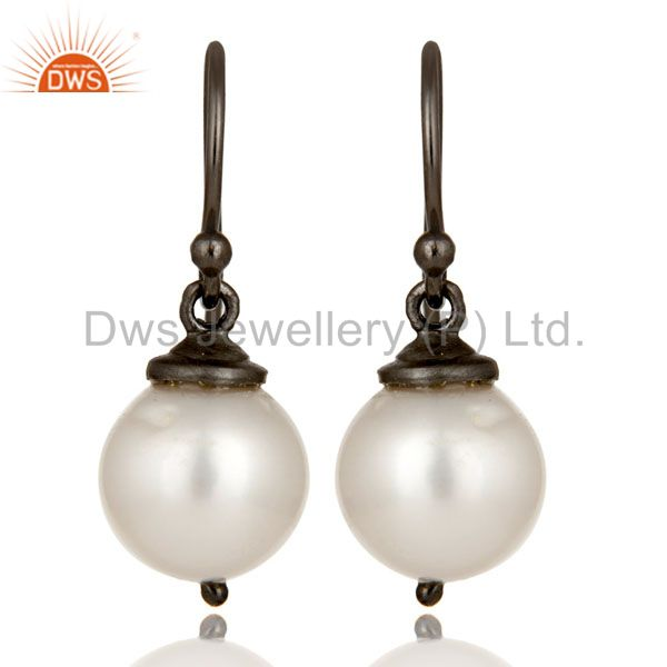 Oxidized Sterling Silver White Pearl Dangle Hook Earrings For Womens