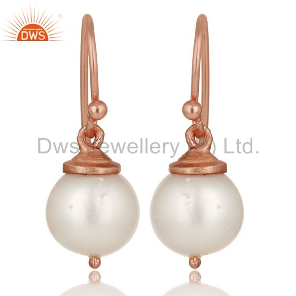 18K Rose Gold Plated Sterling Silver Pearl Dangle Hook Earrings For Womens