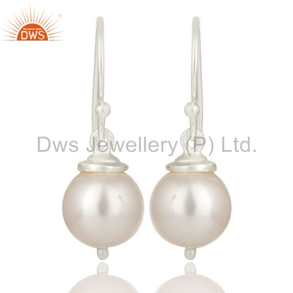925 Sterling Silver Natural White Pearl Dangle Hook Earrings For Womens