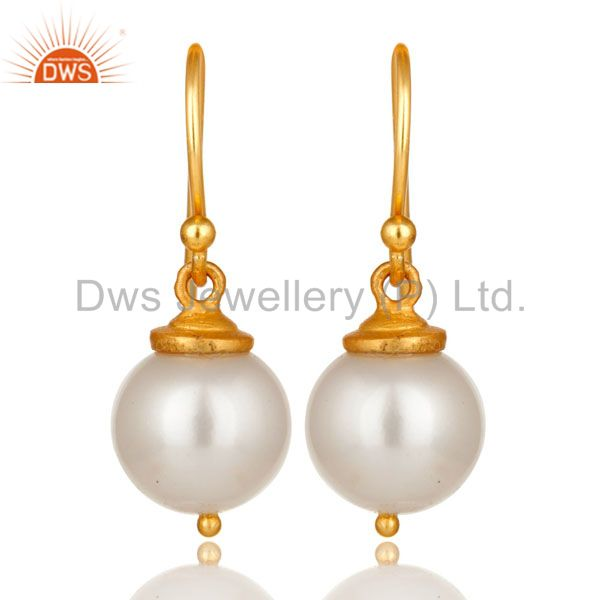 18K Yellow Gold Plated Sterling Silver Pearl Dangle Hook Earrings For Womens
