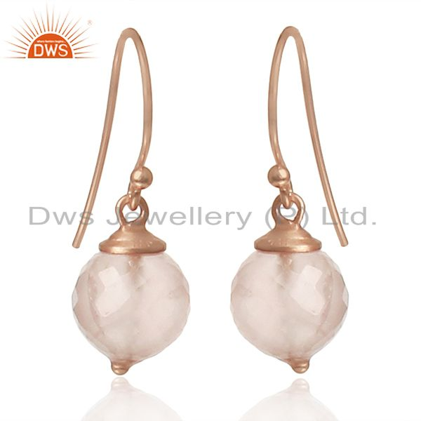 Round Rose Quartz Gemstone Rose Gold Plated Silver Earrings Wholesale