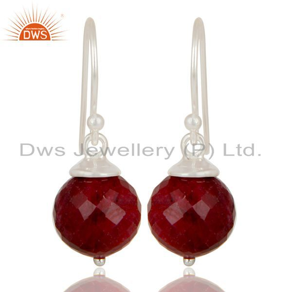 Handmade Solid 925 Sterling Silver Natural Ruby Dangle Hook Earrings For Womens